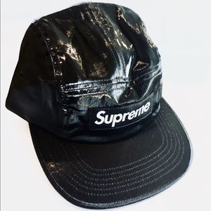 NWT SUPREME black coated linen camp cap